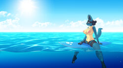 1girls 2019 3_toes 5_fingers abs alternate_color amy_(lysergide) anthro anthrofied areolae belly big_breasts big_ears big_eyes blue_background blue_eyes breasts cloud clouds digital_media_(artwork) feet female female_only fit furry large_areolae large_breasts looking_away lucario lysergide navel nintendo nipples nude original_character outdoors outside pawpads paws pokémon_(species) pokemon pokemon_dppt pussy sky smile solo spikes sun surfboard tail video_games water