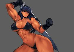 1girls abs artist_request ass bikini breasts clothed copyright_request dark-skinned_female dark_skin female large_breasts muscular muscular_female source_request thick_thighs wide_hips