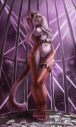 2019 4_fingers 5_fingers anthro areola aurru breasts cage chains collar digital_media_(artwork) felid feline female green_eyes hair hands_above_head hi_res looking_at_viewer mammal money mostly_nude nipples pussy smile solo standing stripper tyskha white_hair