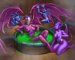 2boys 2girls areolae ass barefoot bath bathing blue_eyes blue_hair blue_skin body_markings breasts cleavage curvy demon demon_girl demon_hunter digitigrade fan_character feet female glowing_eyes green_eyes highres hooves horns imp kneeling large_breasts larger_female long_ears multiple_boys multiple_girls navel nipples nude partially_submerged perky_breasts pink_skin pointy_ears relaxing servant sharp_teeth sharp_toenails signature size_difference smaller_male sponge succubus tail toes vanharmontt warcraft white_hair wings world_of_warcraft zalandris_thornmaw