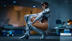 1girl 3d absurd_res absurdres armor ass black_hair blender blizzard_entertainment clothed daintydjinn dark_skin dyed_hair eyeshadow focus half-closed_eyes highres looking_at_viewer makeup mexican no_pants overwatch panties short_hair sombra squatting talon_sombra white_clothing