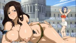 2girls areolae big_breasts blue_hair breasts brown_eyes brown_hair cana_alberona clothing curvy edit fairy_tail female female_only hair large_breasts levy_mcgarden long_hair multiple_girls nipples panties topless ttrop