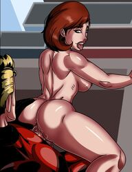 1boy 1girls ass big_breasts blonde_hair breasts brown_hair clothed_male_nude_female clothing couple disney duo elastigirl female hair helen_parr jzerosk male nude open_mouth penetration penis pixar robert_parr sex sideboob straight the_incredibles tongue tongue_out vaginal_penetration