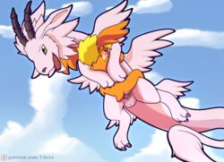 anal anal_sex anthro ass blush claws digimon digimon_(species) digital_media_(artwork) dragon duo erection feathered_dragon feathered_wings feathers feral hair head_wings horn magnadramon male male/male membranous_wings neo neopatamonx open_mouth patamon penetration penis sex smile tapering_penis vitrex wings