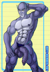 1boy 80s abs anthro anti-heroes.net blue_fur cum_drip flaccid male male_only muscular naked panther panthro penis pinup pointy_ears six_pack solo thundercats