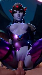 3d animated blender blizzard_entertainment blue_hair bodysuit bouncing_breasts breasts female headgear lerico213 looking_at_viewer male medium_breasts nipples overwatch penis ponytail purple_skin pussy reverse_cowgirl_position sex sound torn_bodysuit vaginal vaginal_penetration webm widowmaker yellow_eyes zugronc