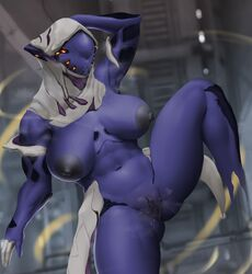 1girls abs alien alien_girl alternate_version_at_source areolae armpits bleachedleaves breasts female female_only humanoid muscular muscular_female navel nipples presenting pussy solo tenno warframe warframetenno wet_pussy wisp wisp_(warframe)