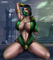 1girls arm_up big_breasts black_hair breasts cleavage clothing dark-skinned_female dark_skin female female_only flowerxl green_eyes hair jade_(mortal_kombat) large_breasts mortal_kombat netherrealm_studios solo thick_thighs thighs video_games