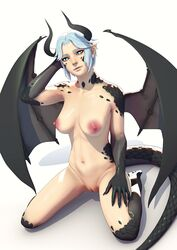 1girls abs absurdres areolae breasts dragon_girl female female_only horns john_doe kneeling looking_at_viewer monster_girl muscular muscular_female nipples nude pussy solo tail wings