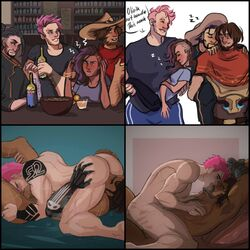 2boys 2girls 69 big_breasts big_butt big_penis bite_mark biting_lip blizzard_entertainment bondage bruise cheating drunk facial_hair femdom hanzo interracial mccree muscles muscular_female muscular_male nipple_pinch overwatch passionate pink_hair robotic_arm sleeping sombra thick_thighs tied_up unconscious zarya