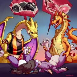 3boys alternate_color anal anal_sex anthro anthrofied charizard chip_'n_dale_rescue_rangers claws clothing cum cum_in_ass cum_inside cum_while_penetrated cumshot digimon digimon_(species) disney dorumon dragon dtz_(cdrr) ejaculation fur furred_dragon furry gay hands-free hi_res interspecies keishinkae kissing larger_male male male_only mega_charizard_y mega_evolution melee_weapon nintendo nude orgasm original_character penetration penis pokémon_(species) pokemon pokemon_rgby pokemon_xy purple_fur purple_skin scalie shao size_difference smaller_male staff text video_games watermark weapon white_fur white_skin x-digimon yama_the_dorumon yaoi