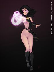 1girls areolae black_hair breasts claudia_(the_dragon_prince) female female_only glowing_eyes hair japes nipples nude pussy small_breasts smile solo the_dragon_prince url