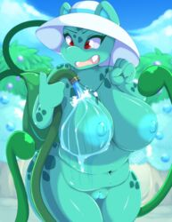 1girls 2019 anthro anthrofied ass big_belly blue_skin breasts bulbasaur chubby deep_navel detailed_background female female_only front_view hat huge_ass huge_breasts navel nintendo nude pokémon_(species) pokemon pokemon_rgby pokemorph pussy reptile scalie skwidbone slightly_chubby smile solo standing text thick_thighs video_games vines voluptuous water watermark wide_hips