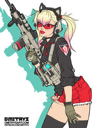 assault_rifle blonde_hair dmitrys erection femboy girly male peach_(dmitrys) penis solo standing trap twintails weapon