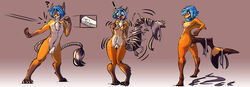 ! 2013 ? anthro ass blue_eyes blue_hair blush breast_growth breasts canid canine dart female fish fox gender_transformation gradient_background hair hand_on_breast male mammal marine mtf_transformation nipples nude open_mouth penis sequence shark shocked short_hair simple_background solo species_transformation standing surprise sweat sweatdrop transformation watsup