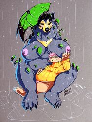 2019 anthro barefoot big_breasts biped black_bear black_claws black_hair black_nose blep blue_eyes bottomless breasts claws clothed clothing danji-isthmus duo female flaccid flora_fauna fur green_eyes grey_background grey_fur hair hand_on_breast hand_on_stomach hi_res larger_anthro larger_female leaf male mammal moon_bear multicolored_fur nipples nude orange_clothing orange_topwear penis pink_hair pink_nipples pink_nose pink_penis pink_tongue plant raining short_hair signature simple_background sitting size_difference smaller_anthro smaller_male smile sweater tan_fur toe_claws toes tongue tongue_out topwear traditional_media_(artwork) two_tone_fur ursid ursine white_claws yellow_fur