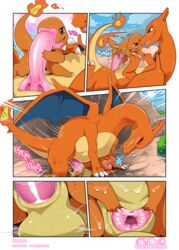 1boy 1girls 2019 after_sex animal_genitalia blush charizard charmander chubby cloaca closed_eyes comic dated detailed_background digital_media_(artwork) dragon duo erection feet female feral fire flat_chest hi_res huge_ass huge_penis insomniacovrlrd interspecies larger_male long_neck male nintendo no_nipples nude open_mouth penetration penis pokémon_(species) pokemon pokemon_rgby pussy reptile ridiculous_fit scalie sex size_difference smaller_female spread_pussy spreading stomach_bulge straight tail teeth text thick_thighs trembling vaginal_penetration video_games wet white_background wide_hips wings