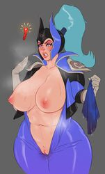 1girls big_breasts bodysuit breasts clothing curvy dota dota_2 female female_only fizzz highres huge_breasts large_breasts luna_(dota) purple_eyes pussy video_games