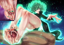 1boy 1girls ass cum cum_on_body cum_on_lower_body feet female footjob from_below green_eyes green_hair k.ty_(amejin) manicure oil oiled one-punch_man penis soles sweat tatsumaki text thighs toes watermark