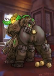 anal anal_beads anal_insertion anal_sex anthro anus ass ass_grab ass_spread centaur female gun heart-shaped_pupils horn orisa overwatch pussy pussy_juice pussy_juice_stain robot solo squirting the_gentle_giant yellow_eyes