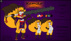 anthro asian_mythology bell breasts canid canine clothing club_(weapon) dress ear_piercing ear_ring east_asian_mythology female fox fox_spirit hi_res japanese_mythology japanese_text jewelry kamiko mammal melee_weapon mike_argentum_(artist) model_sheet multi_tail mythology necklace nude piercing pipe pregnant purple_background pussy signature simple_background smoke text weapon yōkai