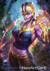 1girls avengers endgame female infinity_gauntlet large_breasts marvel neoartcore purple_skin rule_63 thanos