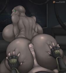 2018 alien anthro ass bald big_breasts big_butt breasts butt_grab clothing cum cum_on_penis digital_drawing_(artwork) digital_media_(artwork) duo erection female first_person_view freckles green_eyes grey_body grope halo_(series) hand_on_butt hi_res hot_dogging huge_breasts human interspecies looking_at_viewer looking_back male male/female male_pov mammal mandibles microsoft not_furry nude patreon penis sangheili sex space video_games voluptuous xbox_game_studios xpray
