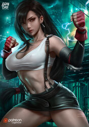 1girls abs big_breasts breasts cleavage female female_only final_fantasy final_fantasy_vii large_breasts logan_cure looking_at_viewer panties solo tifa_lockhart