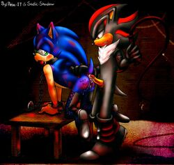 anthro bedroom_eyes bondage chains cum eulipotyphlan fur half-closed_eyes handcuffs hedgehog leash male male/male mammal rebe-it sadic-shadow seductive sex shackles shadow_the_hedgehog sonic_(series) sonic_the_hedgehog spanking