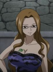 arm_at_side bare_arms bare_shoulders black_eyes blue_dress breast_tattoo breasts brown_hair cleavage closed_mouth collarbone dress evergreen_(fairy_tail) fairy_tail female glasses indoors large_breasts long_hair looking_at_viewer neck sidelocks smile solo stone_wall strapless strapless_dress tattoo upper_body wall