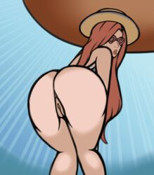 alternate_costume animated animated anus ass background bouncing_butt from_behind hat large_ass league_of_legends milk64 miss_fortune pool_party_miss_fortune pussy twerking umbrella