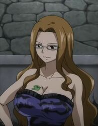 arm_at_side bare_arms bare_shoulders black_eyes blue_dress breast_tattoo breasts brown_hair cleavage closed_mouth collarbone dress evergreen_(fairy_tail) fairy_tail female glasses indoors large_breasts long_hair looking_to_the_side neck sidelocks smile solo stone_wall strapless strapless_dress tattoo upper_body wall
