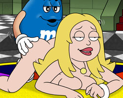 1boy 2019 american_dad arms artist_logo artist_signature ass ass_up background bare_arms bare_breasts bare_hips bare_legs bare_shoulders bare_thighs biting_lip blonde_hair blue_m&m blue_shell bottomless bracelet breasts busty candy color colored colored_background couple crossover curvy detailed_background digital_media_(artwork) eyes female female_focus francine_smith gold_necklace hair half-closed_eyes legs light-skinned_female light_skin lips living_candy long_hair m&ms male milf mouth mushroom_kingdom naked_jewelry necklace nintendo no_bra no_panties nude nude_female plump_lips presenting_hindquarters ragnar_oktopod sex shoulders straight super_mario_64 thighs topless video_games voluptuous white_bracelet white_footwear white_gloves