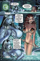areolae bikini black_hair breasts comic duo female jim_balent long_hair nipples pool raven_hex red_hair speech_bubble swimsuit tarot tarot:_witch_of_the_black_rose text undressing water