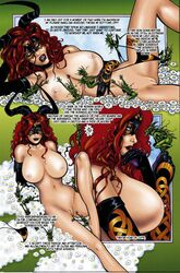 breasts comic dialogue elbow_gloves english_text female flower_bed gloves jim_balent large_breasts lipstick navel nipples nude pussy red_hair tarot tarot:_witch_of_the_black_rose text thong underwear worship