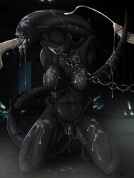 3d_(artwork) alien alien_(franchise) ass belly black_skin black_tail black_tubes bound breasts chains claws cum cumshot dangerous digital_media_(artwork) dripping ejaculation eyeless group group_sex invalid_tag jewelry kneeling muscular necklace nipples not_furry oral orgasm pussy sex sharp_teeth teeth threesome xenomorph