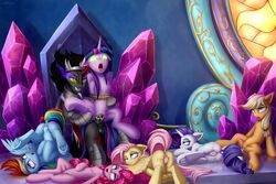 2019 absurd_res alicorn animal_genitalia animal_penis applejack_(mlp) balls blue_eyes chair cum cum_in_pussy cum_inside cutie_mark dock drooling earth_pony equid equine equine_penis eyelashes eyeshadow feathered_wings feathers female fluttershy_(mlp) friendship_is_magic green_eyes green_sclera grin group hi_res hooves horn horse king_sombra_(mlp) lying makeup male male_penetrating mammal my_little_pony one_eye_closed open_mouth penetration penis pinkie_pie_(mlp) pony pterippus purple_eyes pussy rainbow_dash_(mlp) rarity_(mlp) red_eyes rope saliva setharu sex smile straight throne tongue tongue_out twilight_sparkle_(mlp) underhoof unicorn vaginal_penetration wings