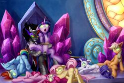 2019 absurd_res after_sex alicorn animal_genitalia animal_penis applejack_(mlp) balls bound chair cum cum_in_pussy cum_inside cutie_mark dock drooling earth_pony equid equine equine_penis eyelashes eyeshadow feathered_wings feathers female feral feral_on_feral fluttershy_(mlp) friendship_is_magic green_sclera grin group hi_res hooves horn horse king_sombra_(mlp) lying makeup male male_penetrating mammal my_little_pony no_pupils one_eye_closed open_mouth open_smile penetration penis pinkie_pie_(mlp) pony pterippus pussy rainbow_dash_(mlp) rarity_(mlp) red_eyes rope saliva setharu sex smile spread_legs spreading straight throne tongue tongue_out twilight_sparkle_(mlp) underhoof unicorn vaginal_penetration wings