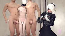 1girls 3boys android animated balls big_balls big_penis cuckold female gay_domination human humiliation laugh male_focus nier:_automata penis_size_difference ponkosfm sissy size_difference small_balls small_penis small_penis_humiliation sound source_filmmaker tagme webm white_hair yorha_2b yorha_9s