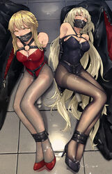 2girls absurdres arms_behind_back artoria_pendragon_(all) artoria_pendragon_(lancer_alter) bag black_legwear black_leotard blonde_hair bondage bound bound_ankles breasts cum cum_on_body cum_on_breasts cum_on_clothes cum_on_upper_body eyebrows_visible_through_hair facial fate/grand_order fate_(series) femsub forced_orgasm gag gagged harness highres hitachi_magic_wand jeanne_d'arc_(alter)_(fate) jeanne_d'arc_(fate)_(all) leotard long_hair looking_at_viewer lying monoglove motion_blur multiple_girls multiple_subs on_back pantyhose pick'k red_leotard rolling_eyes short_hair sitting strapless strapless_leotard tied_up yellow_eyes
