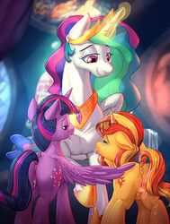 alicorn anus ass caboni32 collar crown cutie_mark dripping equestria_girls equid eyelashes feathered_wings feathers female feral friendship_is_magic group hair half-closed_eyes horn mammal multicolored_hair my_little_pony open_mouth open_smile princess_celestia_(mlp) pussy pussy_juice rear_view saliva saliva_string smile sunset_shimmer_(eg) tongue tongue_out twilight_sparkle_(mlp) unicorn vest_(artist) wings yuri
