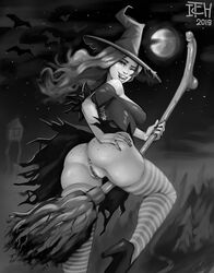 1girls ass breasts broom_riding cleavage female female_only itchyears looking_at_viewer looking_back monochrome pussy solo thighhighs witch witch_hat
