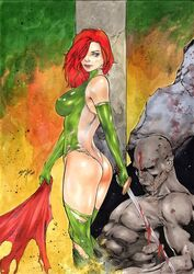 1girls 2017 ass big_breasts bloody_sword bodysuit breasts busty cry_for_dawn curvaceous curvy dated dawn_(comics) ed_benes_studio erect_nipples female female_only gloves goddess green_bodysuit green_eyes green_gloves green_stockings grey_bodysuit grey_stockings holding_sword holding_weapon iago_maia long_hair mascara mascara_tears nipple_bulge nipples nipples_visible_through_clothing pillar pinup red_hair red_lips red_lipstick ripped_bodysuit signature sirius_entertainment solo stockings sword thighs thong torn_bodysuit voluptuous