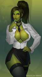 1girls areolae big_breasts breasts clothing female female_only green_eyes green_hair green_skin hair hourglass_figure hulk_(series) jennifer_walters large_breasts marvel marvel_comics mikiron muscular muscular_female open_clothes open_shirt patreon presenting seductive she-hulk shirt skirt solo thick_thighs thighhighs url wide_hips