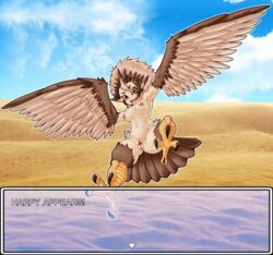 2019 3_toes alternate_version_at_source animal_humanoid anthro areola avian avian_humanoid biped border breasts brown_eyebrows brown_feathers brown_hair brown_tail brown_wings claws desert detailed_background digital_media_(artwork) english_text eyebrows feather_hair feathered_wings feathers female flying hair harpy hi_res humanoid looking_at_viewer multicolored_hair nipples nude open_mouth open_smile orange_eyes pale_skin pink_areola pink_nipples pubes pussy sand sky smile solo tail_feathers talons tan_feathers tan_hair tan_wings text toe_claws toes two_tone_hair two_tone_wings urielmanx7 white_border winged_arms winged_humanoid wings