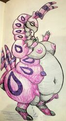 absurd_res antennae anthro anthrofied arthropod belly big_belly big_clitoris breasts chubby clitoris deep_navel drinking dripping_pussy erect_nipples feet female female_only gesture hi_res horn huge_breasts hyper hyper_belly hyper_pussy insect motion_lines navel nintendo nipples nude obese obese_female original_character overweight overweight_female photo pokémon_(species) pokemon pokemon_bw puffy_nipples pussy scolipede sketch solo source_request standing thick_thighs traditional_media_(artwork) video_games waving wet wide_hips ヤギ