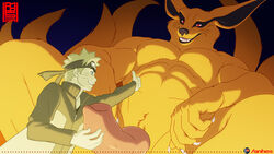 2boys abs anhes beastiality big_penis blonde_hair blue_eyes clothing erection fox fully_clothed gay handjob holding_penis huge_cock interspecies jacket kurama large_penis male male_only masturbation muscles muscular muscular_male naruto naruto_(series) naruto_shippuden orange_fur pecs penis red_eyes size_difference uzumaki_naruto whisker_markings whiskers yaoi yellow_hair zoophilia