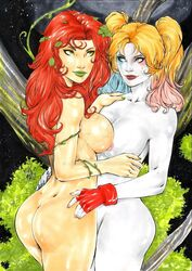 2017 2girls ass batman_(series) big_ass big_breasts blonde_hair blue_eyes blue_highlights blue_nail_polish blue_nails branch breasts breasts_to_breasts busty curvaceous curvy dat_ass dated dc dc_comics deviantart eyeshadow female female_only fingerless_gloves gloves green_eyes green_eyeshadow green_lips green_lipstick green_nail_polish green_nails grey_skin harleen_quinzel harley_quinn highlights hugging lanio_sena large_breasts leaf leaf_hair_ornament leaf_on_head leaves leaves_in_hair long_hair mascara multiple_girls nail_polish naked night night_sky nipples nude pamela_isley pink_highlights pink_nail_polish pink_nails pink_nipples pinup plant plants poison_ivy red_gloves red_hair red_lips red_lipstick signature star stars supervillain thick_ass thick_thighs thighs tree tree_branch twintails voluptuous watermark yuri