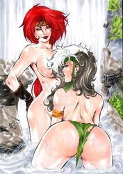 2017 2girls absurdly_long_hair anna_marie ass bandages bandana bare_breasts bathing battle_chasers bent_forward bent_over big_ass big_breasts black_gloves blue_eyes bottomless boulder breasts brown_hair brown_hair busty curvaceous curvy dat_ass dated deviantart female female_only gloves green_bandana green_panties half-closed_eyes hands_on_hips headband homo_superior human lanio_sena large_breasts leather_gloves long_hair makeup marvel marvel_comics mascara multiple_girls mutant naked no_bra no_panties nude panties plant plants pointless_clothing purple_lips purple_lipstick red_hair red_hair red_lips red_lipstick red_monika river rock rocks rogue rogue_(x-men) savage_land signature skinny_dipping stream striped_hair superheroine thick_ass thick_thighs thighs topless torn_panties tree voluptuous water waterfall watermark white_hair wildstorm x-men