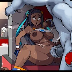 1boy 2girls ahe_gao alternate_breast_size ambiguous_gender anthro areolae armpits ass belly big_ass big_breasts big_penis blue_eyes blue_hair blue_skin breasts brown_hair clothed dark-skinned_female dark_skin duo equine_penis feet female female_protagonist_(pokemon_ss) feral gloves grey_skin hair highres huge_ass huge_breasts huge_penis human interspecies large_ass large_breasts large_penis larger_male long_hair machamp male medial_ring multiple_girls navel nessa_(pokemon) nintendo nipples nude penetration penis poke_ball pokemon pokemon_rgby pokemon_ss pokephilia rolling_eyes sex shirt shirt_lift size_difference smaller_female sobble spread_legs straight strangehero sweat thick_thighs toes trembling vaginal_penetration video_games wet wide_hips